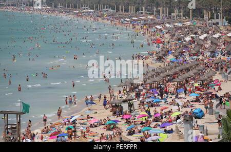 Allgemeine Ansicht über das touristische Strand von El Arenal auf der spanischen Insel Mallorca.