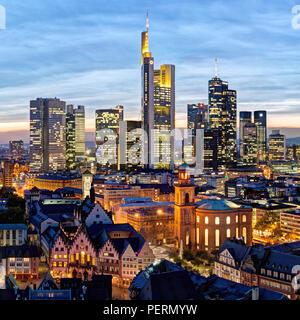 Skyline der Stadt Frankfurt am Main, Hessen, Deutschland, Europa - Stockfoto