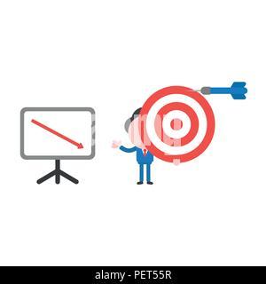 Vector Illustration Geschäftsmann Charakter holding Bulls Eye mit Dart verpassen der Marke und zeigen die Verkäufe chart Pfeil nach unten bewegt. - Stockfoto