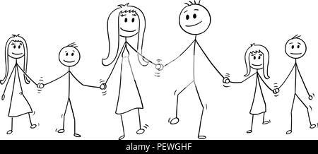 Cartoon von große Familie, Mann und Frau und zwei Jungen und zwei Mädchen zu Fuß, während Sie die Hände - Stockfoto