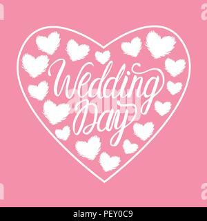 Vektor Hochzeit weiß Abbildung Herz mit Herzen auf rosa Hintergrund isoliert. Schriftzug Inschriften. - Stockfoto