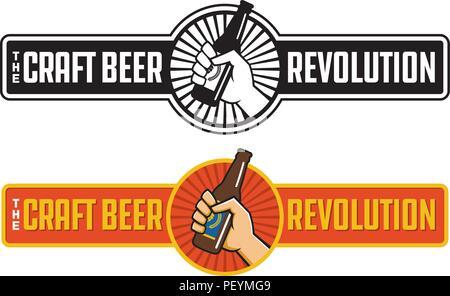 Handwerk Bier Revolution Vektor zugeschickt oder Label Design. Faust Holding eine Flasche Handwerk Bier in retro Logo Banner Design. - Stockfoto