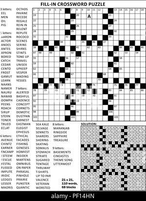 Füllen Sie die Lücken aus Kreuzworträtsel mit amerikanischem Stil Raster von 23 x 23, 68 Blocks, 110 Wörter, ein Buchstabe aufgedeckt. Antwort enthalten. - Stockfoto