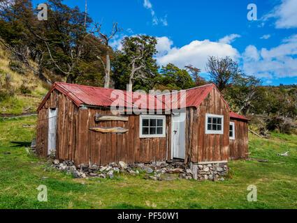 Finnische Hütte, Nationalpark Los Glaciares, Provinz Santa Cruz, Patagonien, Argentinien - Stockfoto