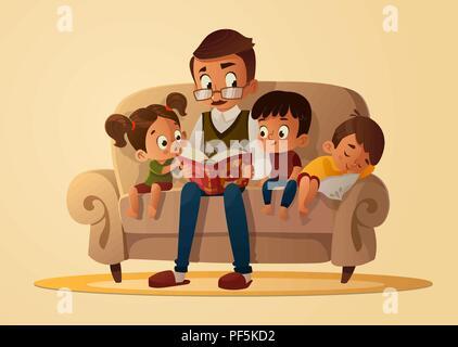 Großvater mit Enkel auf einem gemütlichen Sofa mit dem Buch, lesen und erzählen Buch märchen geschichte. Die Jungen und Mädchen auf ihn sollt ihr hören. Vektor ca - Stockfoto