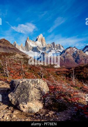 Mount Fitz Roy, Nationalpark Los Glaciares, Provinz Santa Cruz, Patagonien, Argentinien - Stockfoto