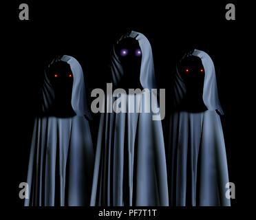 Drei gruseligen Monstern in hooded Umhänge mit glühenden Augen. Auf schwarzem Hintergrund. 3D-Rendering - Stockfoto