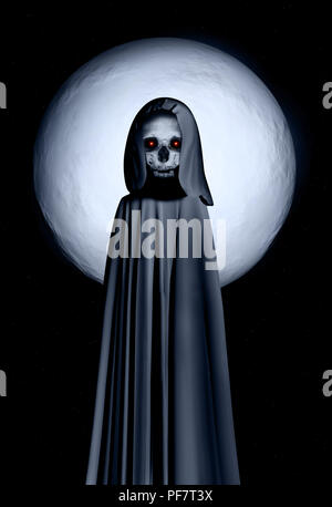 Spooky Tod im Umhang mit Kapuze mit glühenden Augen auf Nacht Himmel Hintergrund bei Vollmond. Elemens dieses Bild von der NASA eingerichtet. 3D-Rendering - Stockfoto