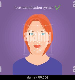 Junge schöne Mädchen Gesicht, Gesicht Identification System text - Stockfoto