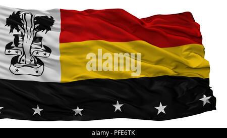 Madang Stadt Flagge, Papua-Neuguinea, isoliert auf weißem Hintergrund - Stockfoto