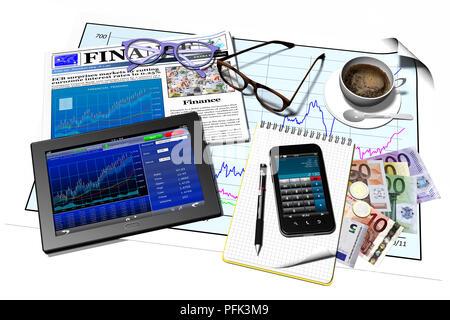 3D-Darstellung. Mobile Geräte mit Bildschirm im Zusammenhang mit Finanzen, Börse, Banken. - Stockfoto