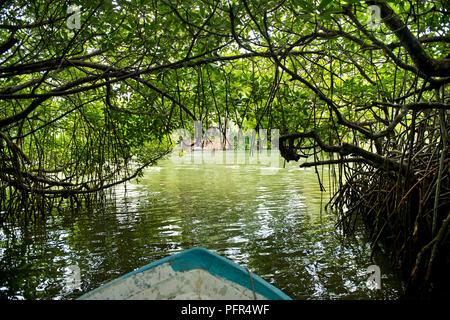 Sri Lanka, Bundesland Kärnten, Balapitiya, Bug des Bootes auf Madu Ganga - Stockfoto