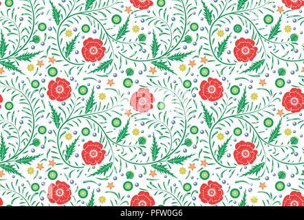 Vektor Nahtlose floralen Muster design Hand gezeichnet: Garten weiß, roter Mohn mit grünen Blättern. Perfekte Hintergrund - Stockfoto