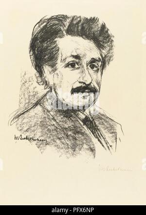 Portrait von Albert Einstein, nach einem Werk von Max Liebermann. Albert Einstein, deutscher Physiker, 1879-1955 geboren. Max Liebermann, deutscher Künstler, 1847-1935. - Stockfoto