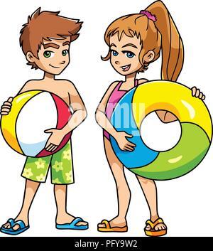 Strand Kinder mit Zubehör - Stockfoto
