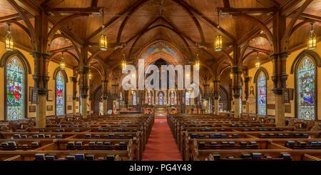 Innenraum der historischen St. John's Anglican Church bei 64 Townsend Street in Lunenburg, Nova Scotia - Stockfoto