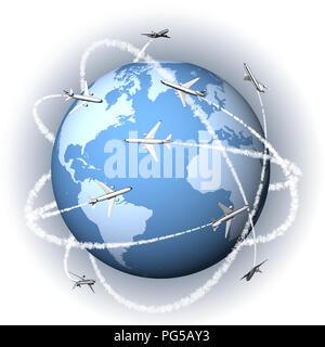 3D-Darstellung. Flugzeuge rund um die Welt reisen an jedes Ziel erreichen. - Stockfoto