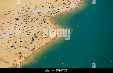 Beliebteste Strand der Ruhrgebiet ist am Silbersee II in Haltern am See entfernt, Sand und Wasser, Karibik Feeling, Lido, türkisfarbenem Wasser, Badegäste, - Stockfoto