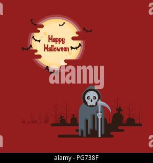 Happy Halloween, Sensenmann stehend mit Sense in der Nacht auf einem Friedhof unter glühenden Vollmond und fliegende Fledermäuse mit dunklen Schatten auf rotem Hintergrund ich - Stockfoto