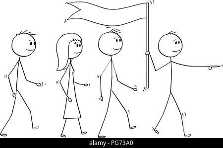 Cartoon von Leader mit Flagge führt ein Team von Geschäftsleuten - Stockfoto