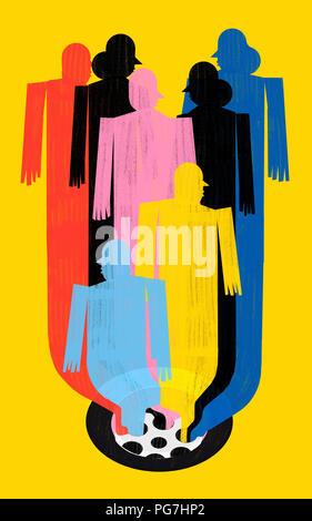 Reise in den Tod. Senioren Konzept. Farbenfroh und konzeptionelle Illustrator über den Tod und die Zeit des Lebens. Visuelle Metapher mit menschlichen Figuren von Farben - Stockfoto