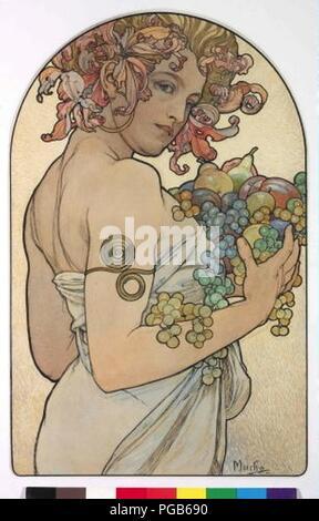 Autor Alfons Mucha 24.7.1860-14.7.1939 - Alegorie Podzimu.