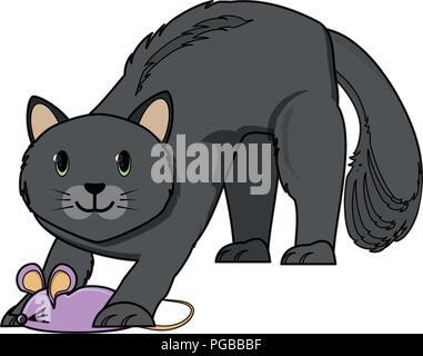 Süße Katze spielen mit Maus Spielzeug auf weißem Hintergrund, Vector Illustration