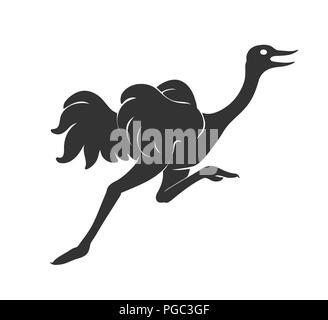 Strauß laufen Vektor-illustration Skizze der Vogel Umriss zeichnen in Schwarz auf Weiß isoliert - Stockfoto