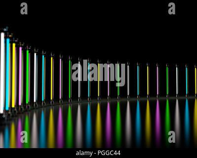 Licht Licht Lampe Neon röhren Glühen im dunklen Zimmer. 3D-Rendering - Stockfoto