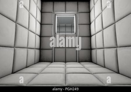Eine leere, weiß gepolsterten Zelle in einer psychiatrischen Klinik - 3D-Rendering - Stockfoto