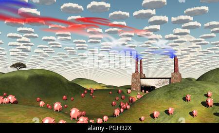 Surreale Landschaft mit Fabrik und Schweine auf dem Weg zur Fabrik - Stockfoto