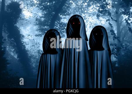 Drei gruseligen Monstern in hooded Umhänge mit glühenden Augen in nebligen Wald landschaft. Foto Farben in blauer Farbe - Stockfoto