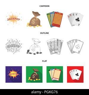Jack Schweiß, einen Beutel mit Geld gewonnen, Karten für Bingo spielen, Karten spielen. Casino und Glücksspiel set Sammlung Icons im Cartoon, Outline, flacher Stil vecto - Stockfoto