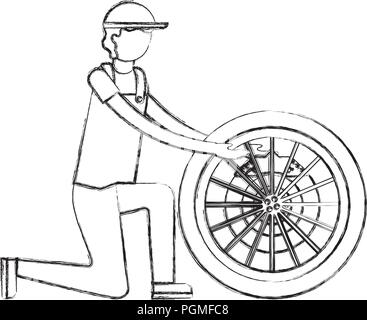 Mechaniker mit Bremsscheibe Motor teil - Stockfoto