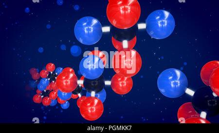 Eine erstaunliche 3D-Illustration von rot, blau und schwarz Atome in hellen molekulare Strukturen diagonal vorwärts in den blauen Hintergrund fliegen verbunden. - Stockfoto