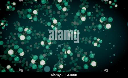 Eine künstlerische 3d Abbildung: Grün, Weiß und Schwarz Atome im multidimensionalen molekulare Strukturen in den dunkelgrünen Hintergrund fliegen verbunden. - Stockfoto
