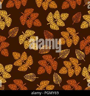 Nahtlose Muster mit farbigen Blättern. Vector Illustration - Stockfoto