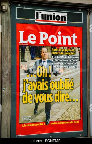 Ein zeitungskiosk Vorderseite auf L Union mit Präsident Hollande auf dem Cover, die Nachrichten in den Straßen von Reims, Frankreich - Stockfoto