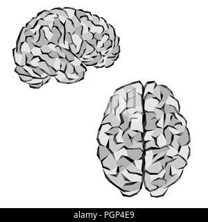 Menschliche Gehirn Silhouetten mit graue Dreiecke Elemente - Stockfoto