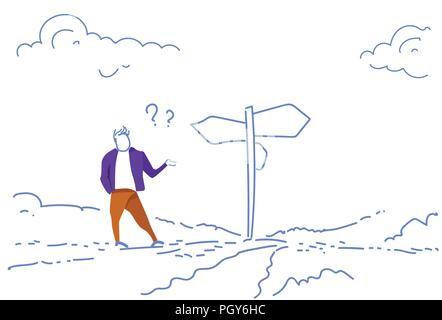 Verwirrt Geschäftsmann stehende Schild Richtung wählen Weise schild Pfeil Fragezeichen Skizze doodle horizontal - Stockfoto