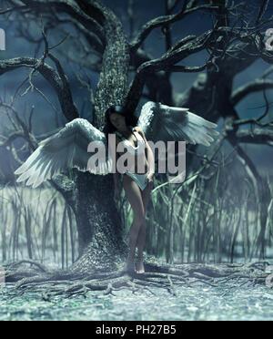 Ein Engel in mystischen Wald, 3d-Grafik für Buchillustration oder Buch Cover - Stockfoto