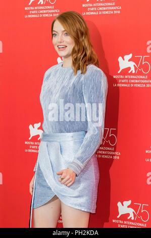 Emma Stone während der 'Favorit' Fotoshooting beim 75. Internationalen Filmfestival von Venedig im Palazzo del Casino on August 30,2018 in Venedig, Italien - Stockfoto