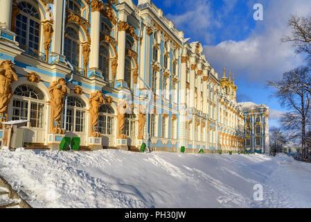 Catherine Palace in Zarskoje Selo im Winter. Stadt Puschkin. Sankt Petersburg. Russland - Stockfoto