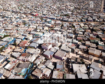 Luftbild in einem Township in der Nähe von Kapstadt, Südafrika - Stockfoto