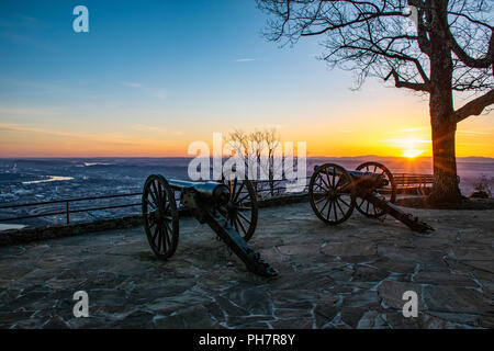 Point Park Bürgerkrieg Kanonen in Chattanooga Tennessee TN - Stockfoto