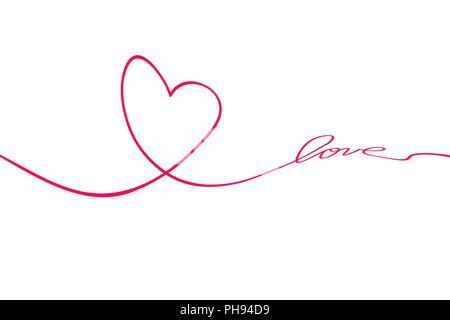 Herz und Liebe im kontinuierlichen Zeichnen von Linien in einem ...