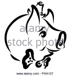 Business Schwein Gentleman, schwarzer Kopf, Profil, lustig - Stockfoto