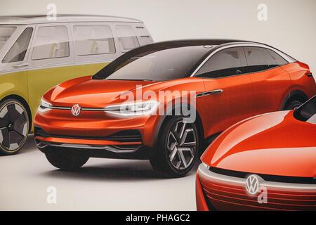 Berlin, 29. August 2018: Foto Bild des neuen Concept Cars von Volkswagen präsentiert auf der offiziellen Auto Show Drive - Der Volkswagen Konzern Forum in Berlin. - Stockfoto