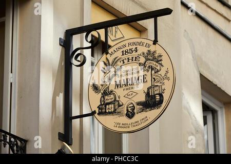 Mariage Freres Signage außerhalb der Tee Shop auf der Rue du Bourg Tibourg in Le Marais in Paris - Stockfoto
