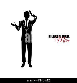 Unternehmer, Manager. Ein Mann im Anzug. Geschäftsmann Schellen seinen Kopf - Stockfoto